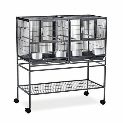 Prevue Pet Products Hampton Deluxe Divided Breeder Bird Cage Black Hammertone