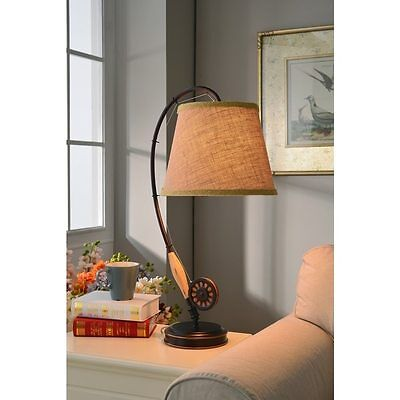 Fishing Rod Table Lamp Brown Bronze Finish Single LED Light Rustic Accent Cabin