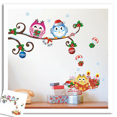 wandtattoo kinderzimmer weihnachten weihnachtdeko eule schnee fensterbild lustig eur 9 90. Black Bedroom Furniture Sets. Home Design Ideas
