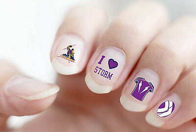 Melbourne Storm NRL Nail Art Decal Stickers Gel or Polish