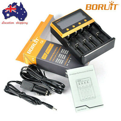 BORUIT C4 Intelli LCD Smart Battery Charger Ni-MH/CD/Li-ion AA 18650 26650 16340