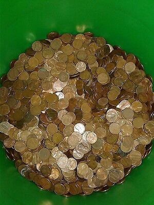 (25) Rolls Of Circulated Old 95% Copper Pennies TRUE Unsearched, 1900-1982