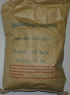Lightweight Insulating Castable, 2300°F, Density 69lb/ft^3, 20 lbs,Free shipping