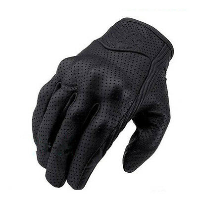 Riding Bike Racing Motorcycle Protective Armor Leather Mesh Black Gloves