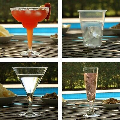 PLASTIC DISPOSABLE GLASSES CUPS - Martini Cocktail Wine Champagne Margarita Cup