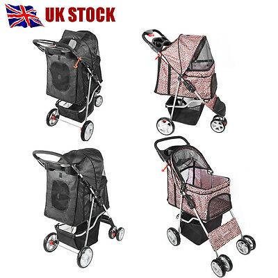 Panana Pet Dog Cat Puppy Travel Stroller Pushchair Jogger Buggy Swivel 3/4 Wheel