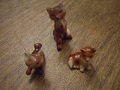 Vintage Miniature Hagan Renaker mom & baby Red Fox family plus extra Baby Fox