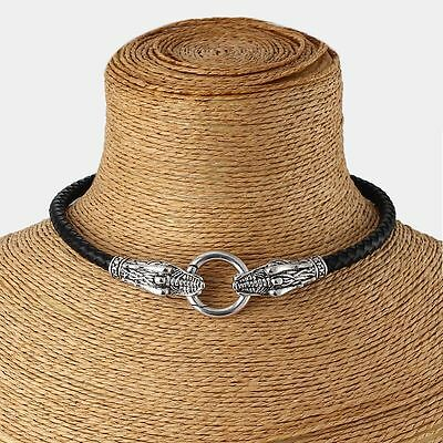 Genuine Leather Choker Necklace Antique Silver Dragon  Collar / Choker