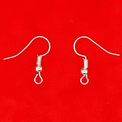100/200 Silver Plated Ear Wire Fish Hook Earring Hook Bead & Spring 19mm Finding