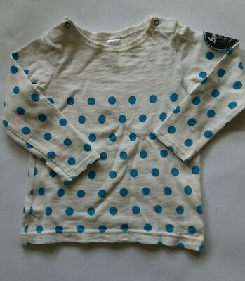 Bonds baby jumper white with blue spots 12-18 mth size 1 good condition unisex
