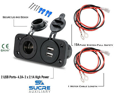 12V/24V USB Twin Dual Socket + Cigarette Socket + Double  Twin Plate +1M Cables