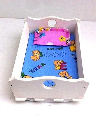 """Wooden toy rocking cradle crib , bed for dolls with mattress & pillow 14""""long"""