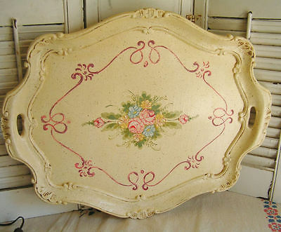 Vintage Cottage Chic Hand Painted Florentine Wood Wooden Tole Serving Tray