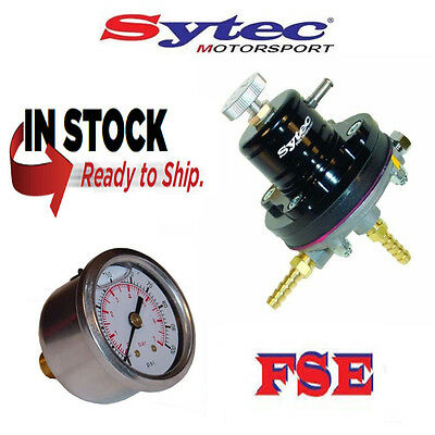 FSE Sytec Adjustable Fuel Pressure Regulator & Gauge 1.5 - 6 bar BLACK MSV001BLK