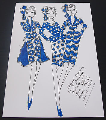 Roz Jennings Fashion Drawing Original Art Work Illustrator Laura Ashley 1970 A26