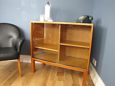 Vintage Industrial Golden Oak Glazed School Bookcase