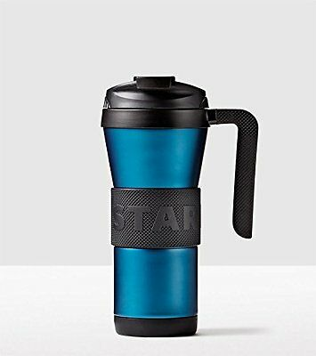 NEW Starbucks Stainless Steel Grip Tumbler with Handle Blue Turquoise 16 Oz