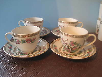 Vintage Lord Nelson Pottery 'Indian Tree' 4 x Tea Cups and Saucers