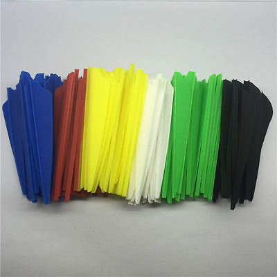 "100Pcs 3"" Plastic Rubber Vanes Hunting Arrow Feather Fletch Arrow Feathers AB-3"