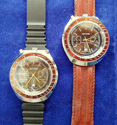 Orologio Vintage Watch Chronograph Cronografo Bullhead Marrone Brown Lotto Lot 2