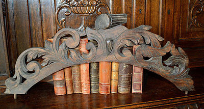 Antique French Arched Carved Wood Pediment Acanthus Scrolls