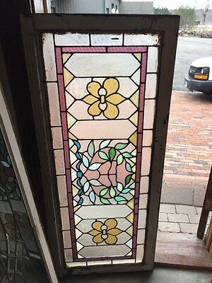 Sg 1276 Antique Floral Transom Window Stainglass 23.5 X 54.5