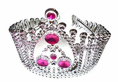 Girls Silver Pink Tiara Crown Costume Party Fancy Dress Up