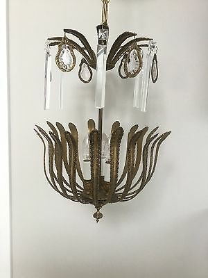 Antique Vintage French Bronze Brass Palm Frond Crystal Chandelier Lantern