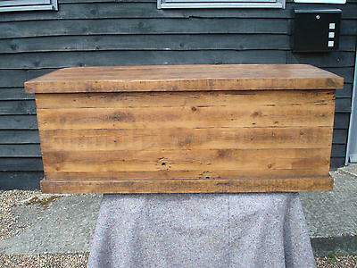 Lovely Old Pine Large Blanket Box Chest Trunk