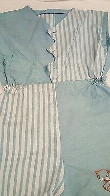 Vintage Baby Romper Blue White Stripes Embroidered Kitty