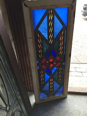 Sg 1288 Antique Stainglass Painted And Fired Fireworks 14 X 36.5