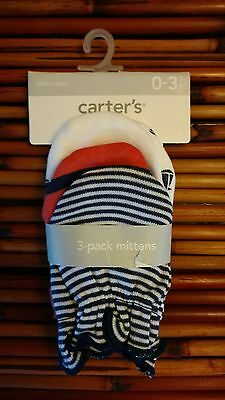 Carter's 0-3 Month Boy's 3-Pack Mittens NWT - Nautical Theme