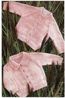 Knitting Pattern- Baby Cardigan pattern- 2 designs in DK or 4ply- chest 19-21 in