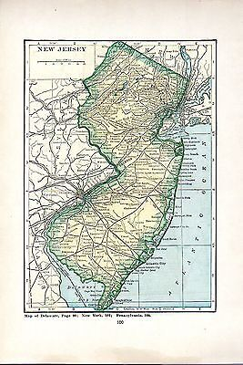 1923 HAMMOND'S World Atlas ORIGINAL MAPS NEW JERSEY AND NEW HAMPSHIRE a5