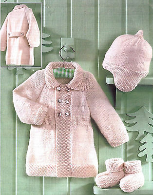 Knitting Pattern-Baby Coat- hat and boots in DK- fits Birth- 2 years