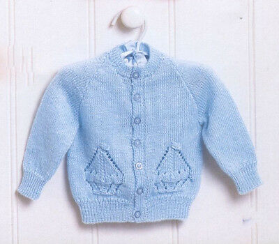 Knitting Pattern-Baby Ships Cardigan in 4 ply wool- fits 3-24 months