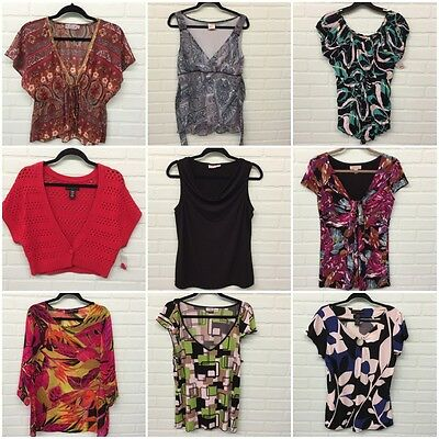 Large LOT of 9 Women's Size L Large 10 12 Blouses Shirts Tops Cardigan NWT EUC