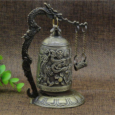 Zinc Alloy Vintage Style Bronze Lock Chinese Dragon Carved Buddhist Bell