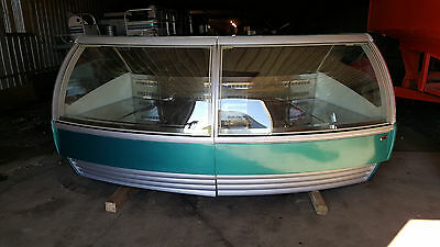 DSL Curved Glass Display Case Freezer Gelato Ice Cream Dipping Showcase Cabinet