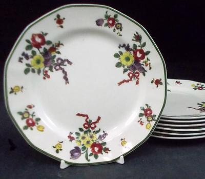 Royal Doulton OLD LEEDS SPRAY 7 Bread & Butter Plates D3548 VERY GOOD CONDITION