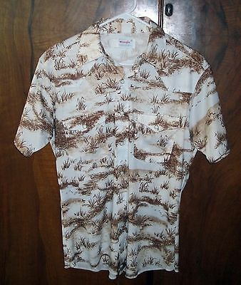 VINTAGE 60's WRANGLER WESTERN DUCK POLYESTER HUNTING PEARL SNAPS M SHIRT