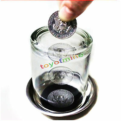 Coin Thru Glass Tray Close Up Easy Amazing Gimmick Magic Trick Magical Props