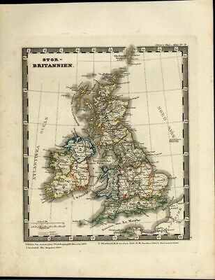 Great Britain England Scotland Ireland Wales London 1846 Danish old antique map