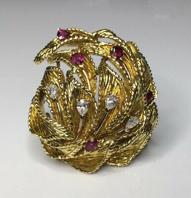 Estate Vintage Designer Dankner 18K Gold 2 CTW Ruby & Diamond Pendant Brooch 31G