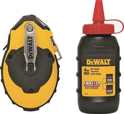 Dewalt 100' 3:1 Gear Chalk Reel Kit-Red Chalk-Chalk Box