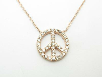 18k Rose Gold Sterling Silver White Sapphire Peace Sign Design Necklace