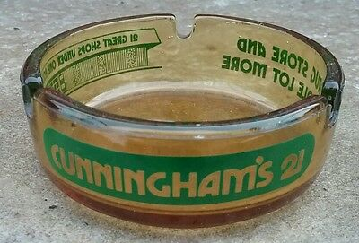 Vintage Cunningham's 21 Drug Store Advertising Green ACL Amber Glass Ashtray