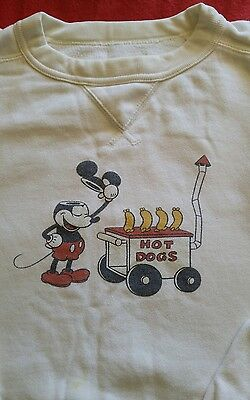 Vintage Mickey Mouse Made in JAPAN Hot Dogs T-shirt Tee Unisex S or M white
