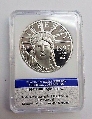 1997 $100 Eagle Coin Layered In .9995 Platinum , Limited Edition , American Mint