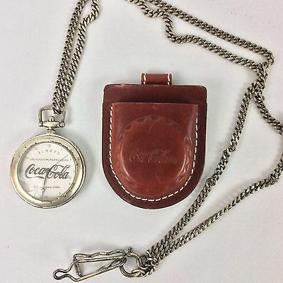 Rare 1997 Coca-Cola Coke Pocket Watch With Belt Leather Pouch-Silver Plated